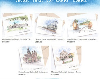 SAVE 20%: Choose ANY 3 Travel Sketch Cards