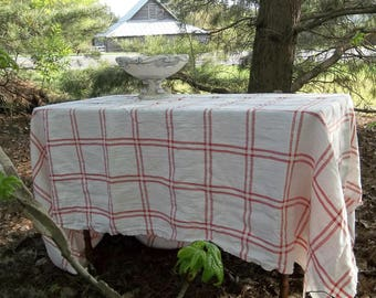 Red White Linen Tablecloth Red Plaid Linen Table Cloth Custom Sizes Colors French Country Wedding Decor Choose Red, or Tan Plaid