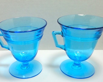 Mid Century  Aquamarine Glass Footed Cups. Set of 2