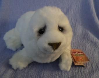 """Smokey Eyes Seal Spencer white Lou Rakin Dakin NWTS 10""""  Baby just a wee Pup"""