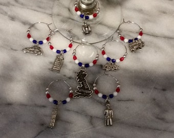 England English London themed Wine Charms set of 8