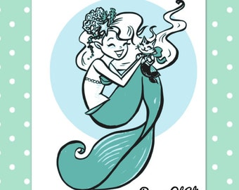 Realistic Mermaid With Catfish SVG Cut File
