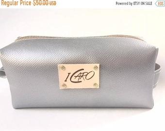 Sale Silver Leather Makeup Bag