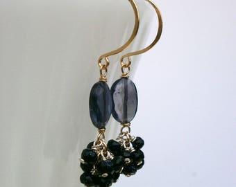 Iolite Blue Goldstone Cluster Earrings Small Purple Gemstone Dangles Mixed Metal Earrings Natural Stone Earrings