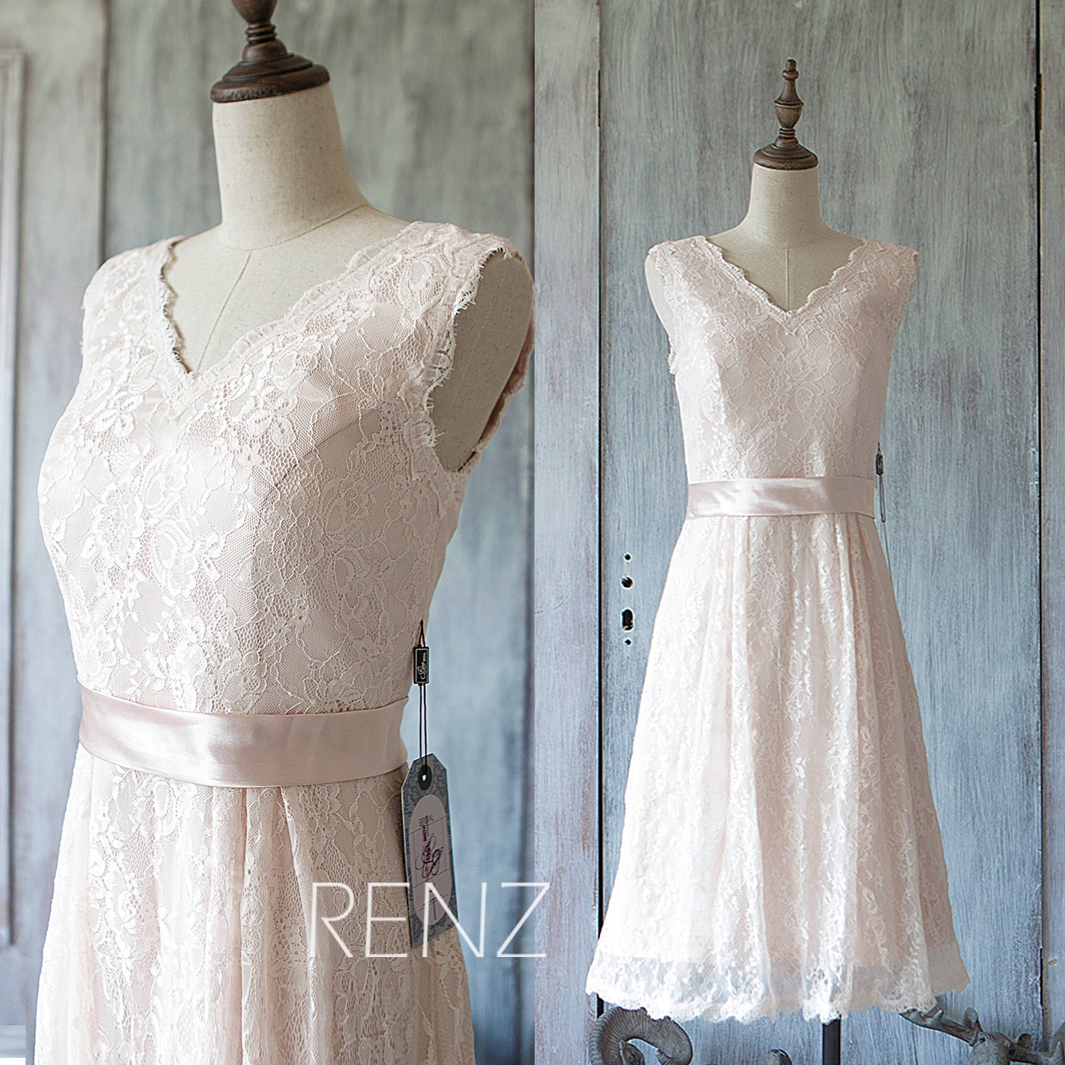 Bridesmaid Dress Peach Short V Neck Lace Wedding DressChiffon