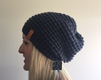 Charcoal wool and alpaca slouchy beanie