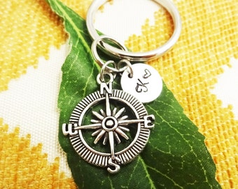 COMPASS KEYCHAIN with initial charm - choose keyring, clasp or heart keyring - One flat rate shipping in my shop :)