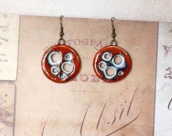 Boho Hoop Earrings, African Earrings, Ethnic Earrings, Round Earrings, Ceramic Earrings, Red Earrings, Artisan Earrings, Southwestern