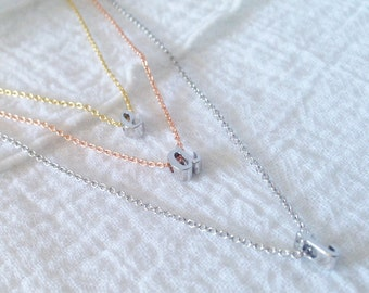 Dainty Silver Initial Necklace, Personalized Gift, Custom Necklace, Bridesmaid Gift - DCIN