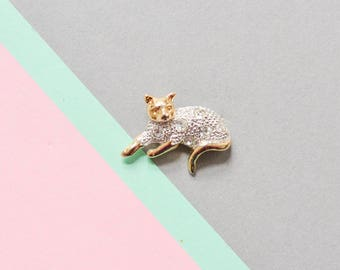 Cat brooch rhinestones, cat pin, silver cat pin, animal brooch, 90s jewelry, 90s pin