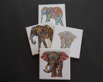 Elephant Coasters ~ Tribal Elephants ~ Safari Animals ~ Colorful Elephants ~ Drink Coasters ~ Indian Decor ~ Painted Elephants ~ Home Decor