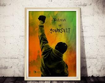 "Rocky Inspirational ""Believe in Yourself"" Fan Art Poster, Original Watercolor Rocky Painting Print, Motivational Rocky Balboa Wall Decor"