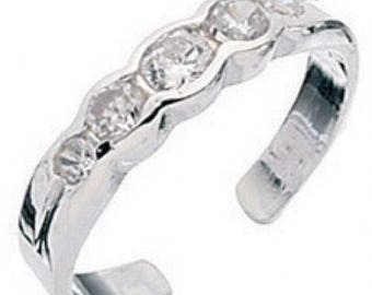 925 solid Sterling Silver 5CZ Toe Ring