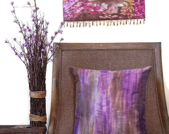 Purple  Pillow 18x18-Watercolor Silk Pillow-Boho Decor-Bohemian Pillow-Brown Pillow-Mother's Day Gift-Home Decor Gifts-Watercolor Home Decor