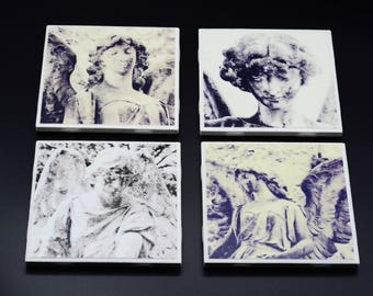 Cemetery Angel Photo Coasters, Set of 4, black and white photography