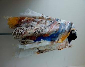 "Nuno felted multicolor  scarf shawl poncho felting wool luxury floral romantic tippet stole ""Safari"""