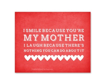 Funny Mothers Day Typography Art Poster Gift - Smile Laugh Mom Art Print - Coral Red Digital Art Print