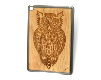 iPad Air case, iPad Mini case, iPad Mini 2 case, iPad 3 case, iPad engraved case, custom iPad case,Owl 3 wood engraved case