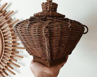 Vintage Snake Charmer Wicker Basket