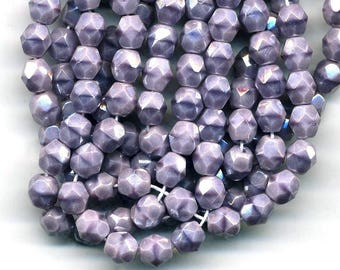 10 beads 6 mm opaque glass - iridescent purple color