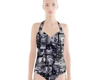 Star Wars Swimsuit, Sweetheart Halter One Piece Star Wars Posters Swimsuit, Pinup Swimsuit, Star Wars Bathing Suit