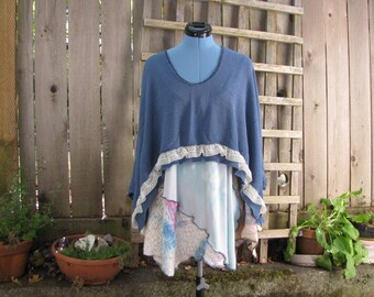 Romantic Blue Cotton Sweater Knit Poncho Cover Up/Eco Shawl/Asymmetrical Poncho Cape One Size