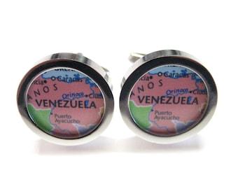 Venezuela Map Pendant Cufflinks