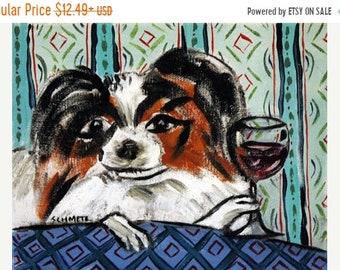 25% off Papillon at the Wine Bar Dog Art Print   JSCHMETZ modern abstract folk pop art AMERICAN ART gift