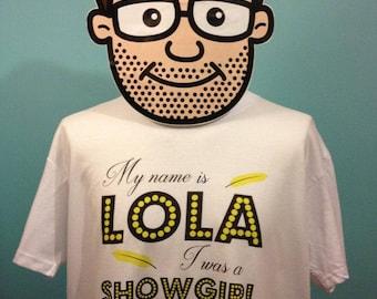 Copacabana 70s Pop / Easy Listening Music T Shirt (Lola - Showgirl) - White Shirt
