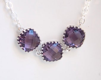 Silver Purple Necklace, Glass Necklace, Sterling Silver, Tanzanite, Amethyst, Bridesmaid Necklace, Bridal Jewelry, Bridesmaid Jewelry