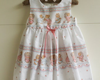 25% OFF! 12-18 Months Only! White Dress Baby Girls with Mice Design and Pink Ribbon Detail