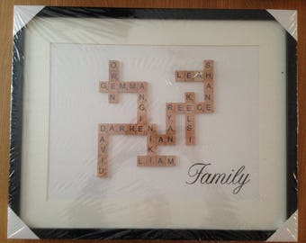 Beautiful Scrabble Word Art Photo Frame - up to 10 names