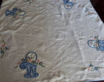 """Vintage Appliquéd and Embroidered Small Tablecloth 32"""" x 33"""""""