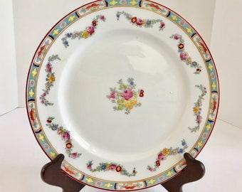 "Vintage Crown Sutherland Floral Swag and Roses Pattern #663, 10 "" Dinner Plate"