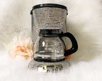 Bling coffee maker- crystal coffee maker- dorm room appliances- sparkly mini coffee maker- college gifts- bling Keurig- unique crystal gifts