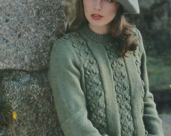 Womens jumper sweater cable bobble vintage knitting pattern pdf INSTANT download pattern only pdf 32 - 40 inches