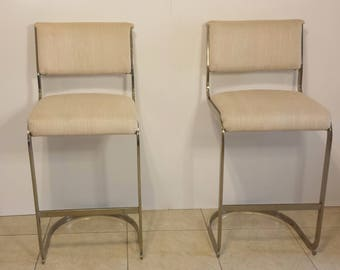 Cal-Style (Signed)  Milo Baughman Mid-Century Hollywood Regency Cantilevered Bar Stools (Pair)