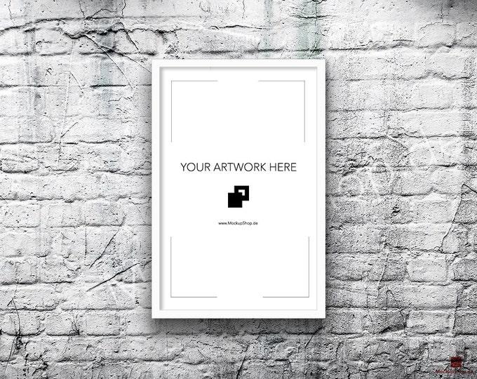 11x17 Vertical Digital WHITE FRAME MOCKUP, Styled Photography Poster Mockup, old White Brick Background, Framed Art, Instant Download white