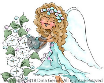 Lailah Merry Moonflower Digi Doodles Fairy Digi Stamp