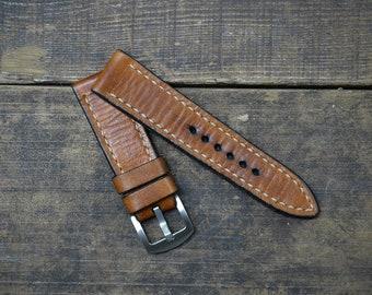 22mm Handmade VIntage Tan Leather Watch Strap