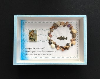 Mermaid decor, inspirational quote, handmade mermaid gift, found object collage, sea assemblage, ocean art, beach house gift, mermaid