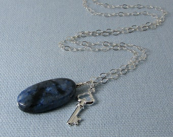 Flower Dumortierite and Sterling Silver Key Pendant Necklace