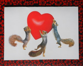 Squirrels Red Heart Printable Valentine's Card, Printable Squirrel Heart Card, Squirrel Valentine Printable Card