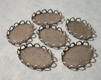 Oxidized Silver Oval Lace Edge Settings for 18 x 13mm Cabochons - Set of 6