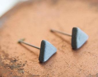 Mens earrings, earrings for men, black earrings, tiny earrings, ceramic earrings, porcelain earrings, black stud earrings, matte earrings