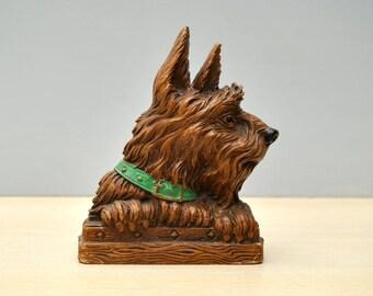 Vintage Scottie brush holder, 1930's Syroco wood, Scottish terrier collectible, original label, Scotty dog