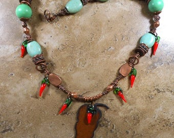 Chili Pepper Necklace of Copper and green glass with chili glass charms - MN500
