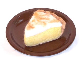Needle Felted Food - Piece of Lemon Meringue Pie - Felted Food - Gift for Her - Kitchen Decor - Play Food - Needlefelt - Slice of Pie