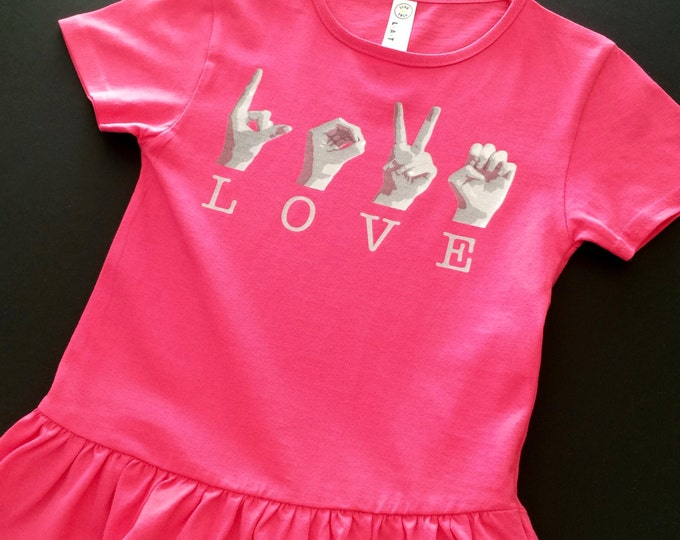 ASL Girls LOVE Ruffle Tee Shirt - American Sign Language - Cotton T shirt - LAT Apparel - Girls Tees xs, s, m, l - Pink and Black