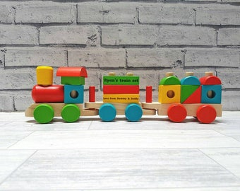 Personalised Wooden Stocking Train, Push along, Train, Wooden Toy - (00292)